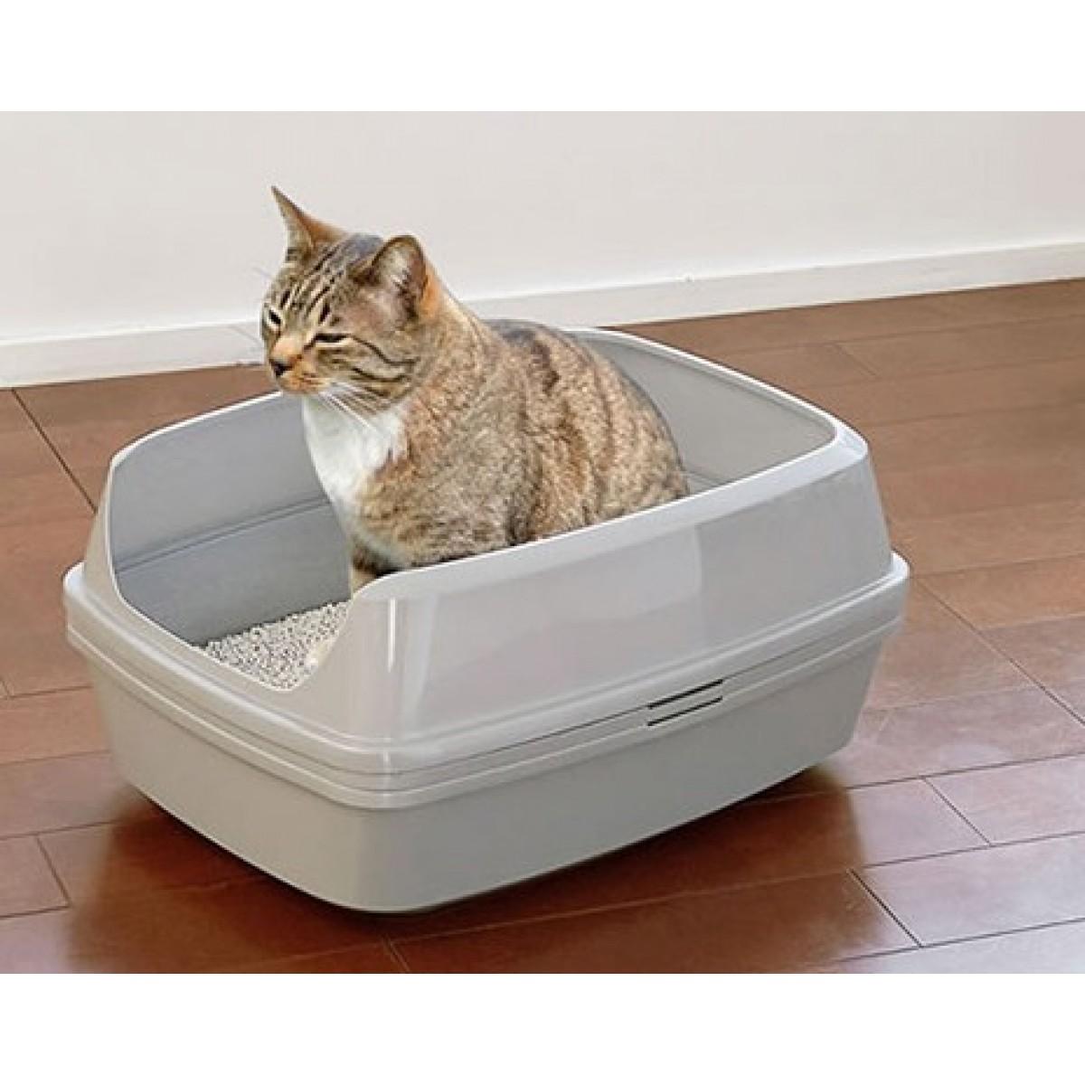 Лоток для кошек с высокими бортиками и решеткой