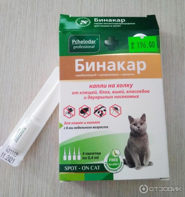Бинакар — капли для кошек